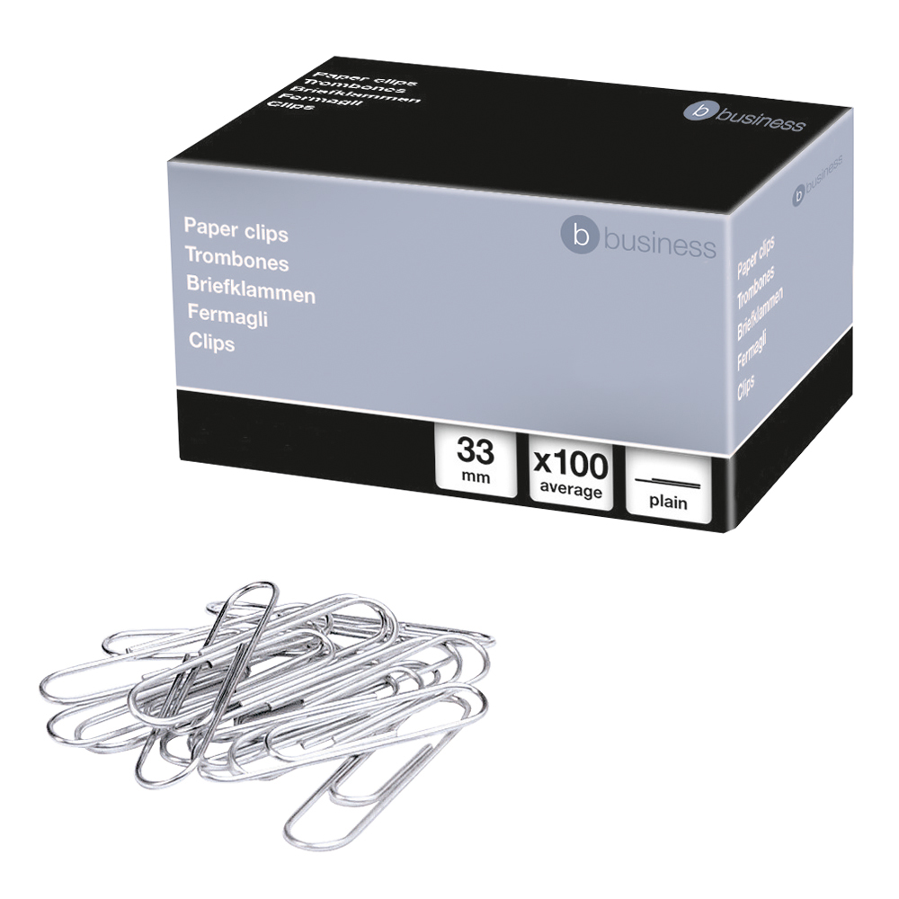 Business Paperclips Metal Large 33mm Plain [Pack 100]
