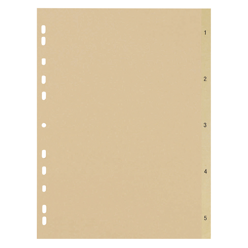 Business Eco File Divider Numbered Tabs 1-5 Recycled Manilla 11 Holes 150gsm A4 Buff