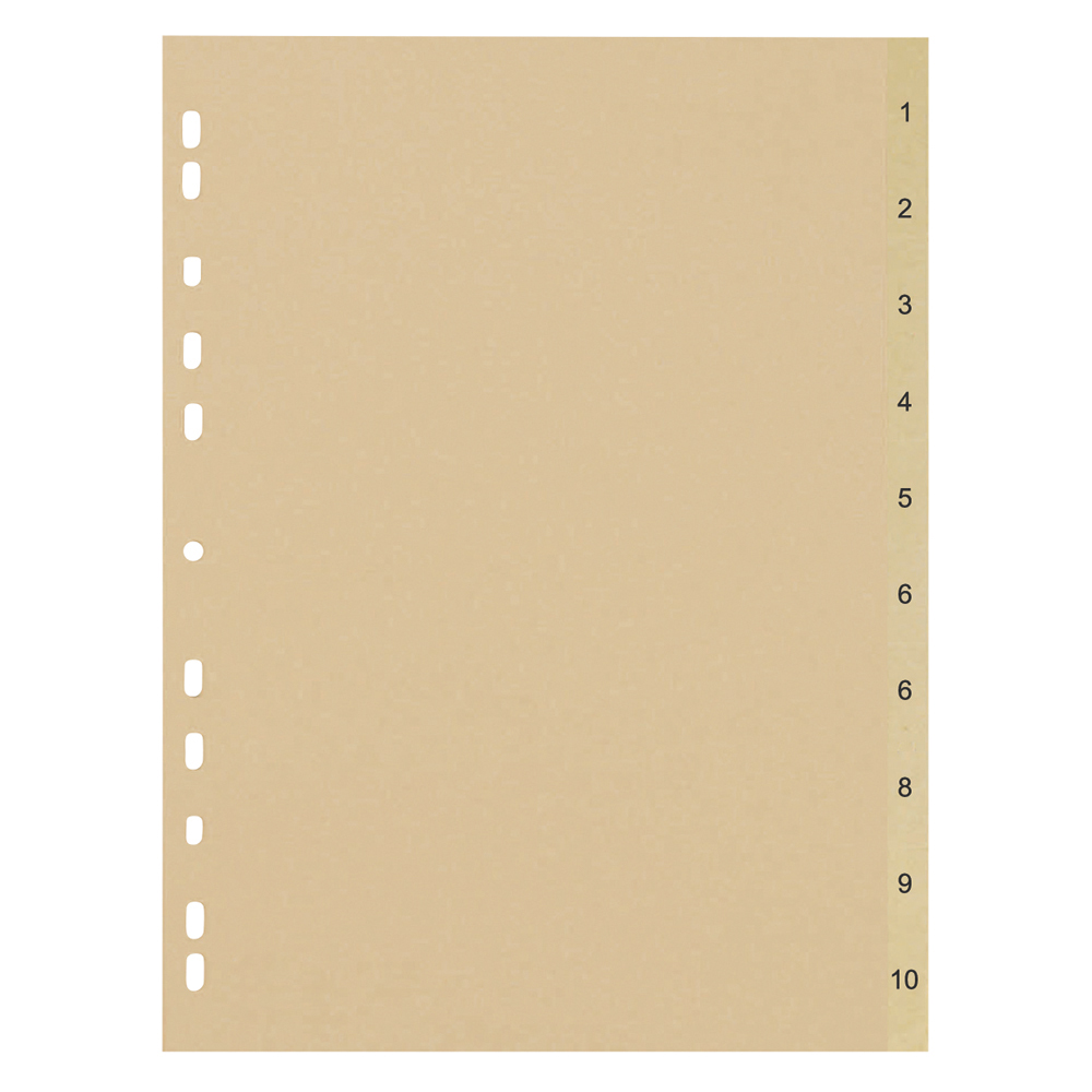 Business Eco File Divider Numbered Tabs 1-10 Recycled Manilla 11 Holes 150gsm A4 Buff