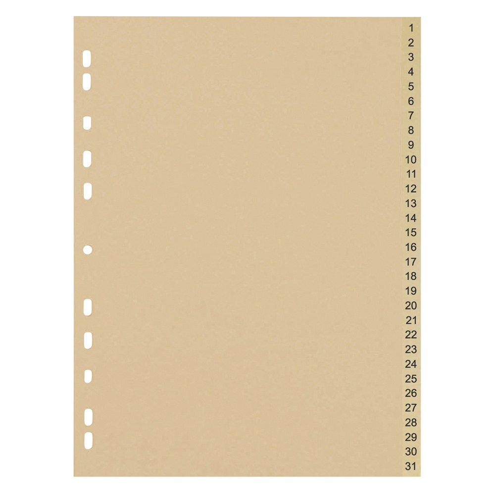 Business Eco File Divider Numbered Tabs 1-31 Recycled Manilla 11 Holes 150gsm A4 Buff