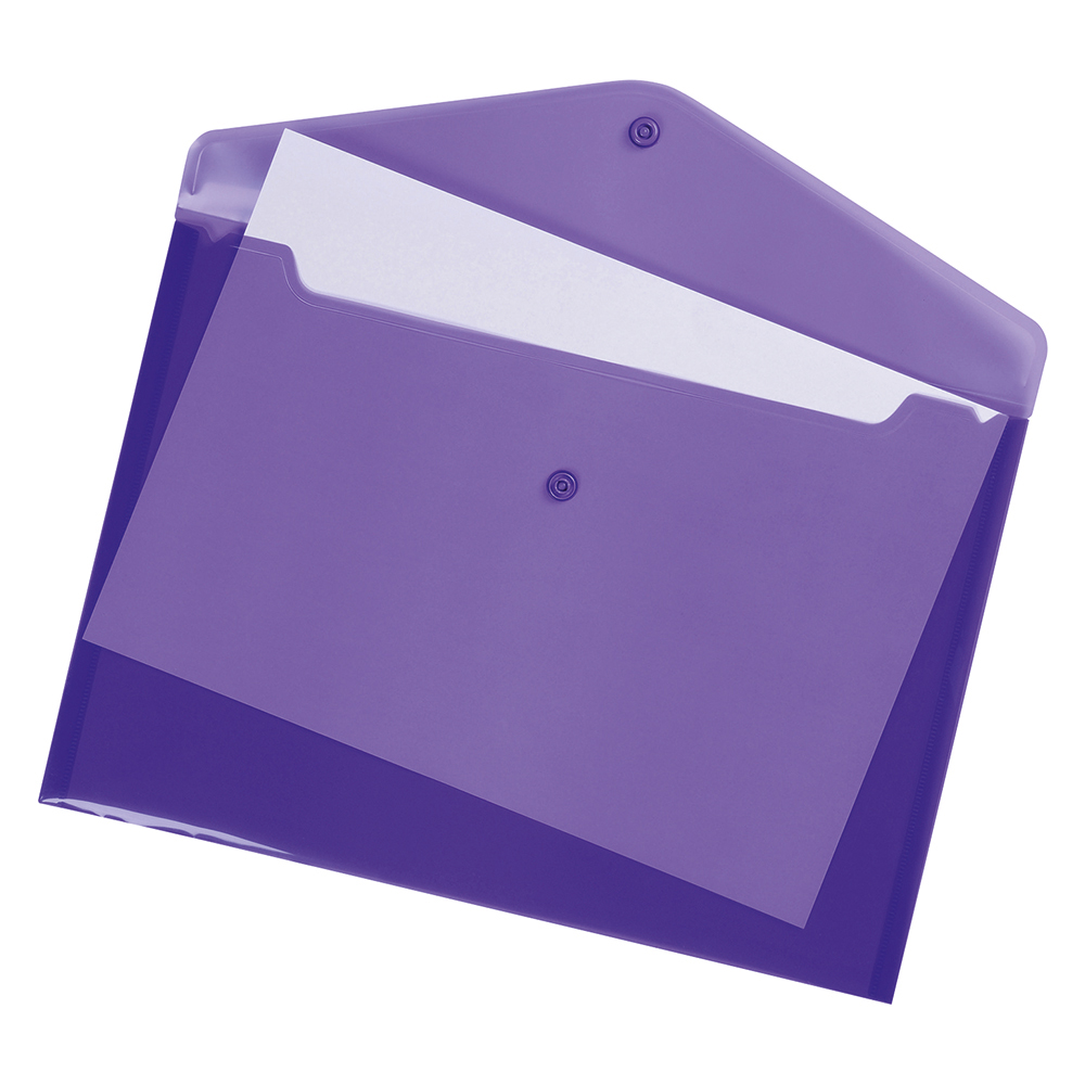 Business Envelope Stud Wallet Polypropylene A4 Translucent Purple [Pack 5]