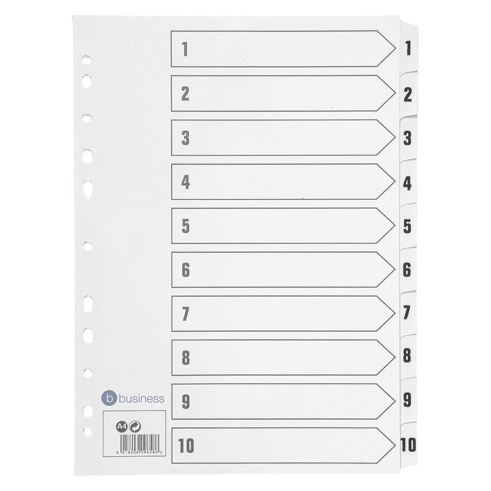 Business Index 150gsm Card with Mylar Tabs 1-10 A4 White
