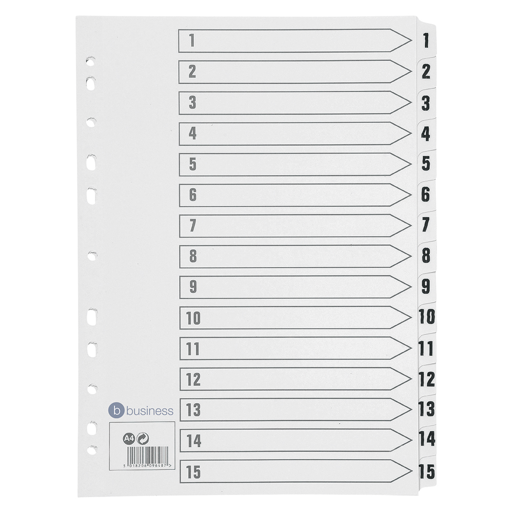 Business Index 150gsm Card with Mylar Tabs 1-15 A4 White