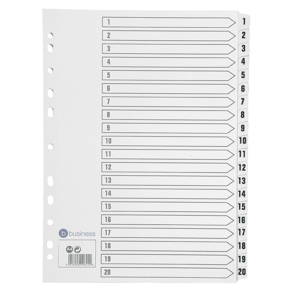 Business Index 150gsm Card with Mylar Tabs 1-20 A4 White