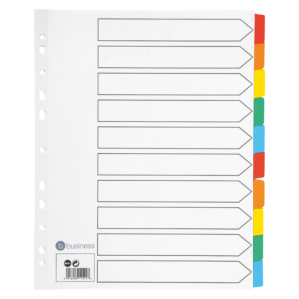 Business Maxi Index Extra-wide 150gsm Card with Coloured Mylar Tabs 10-Part A4 White