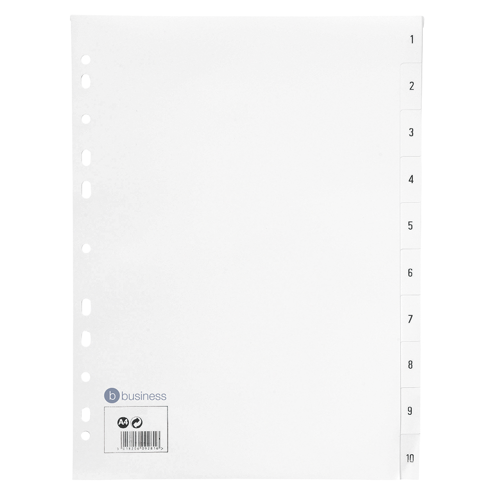 Business Index Multipunched 130 micron Polypropylene 1-10 A4 White