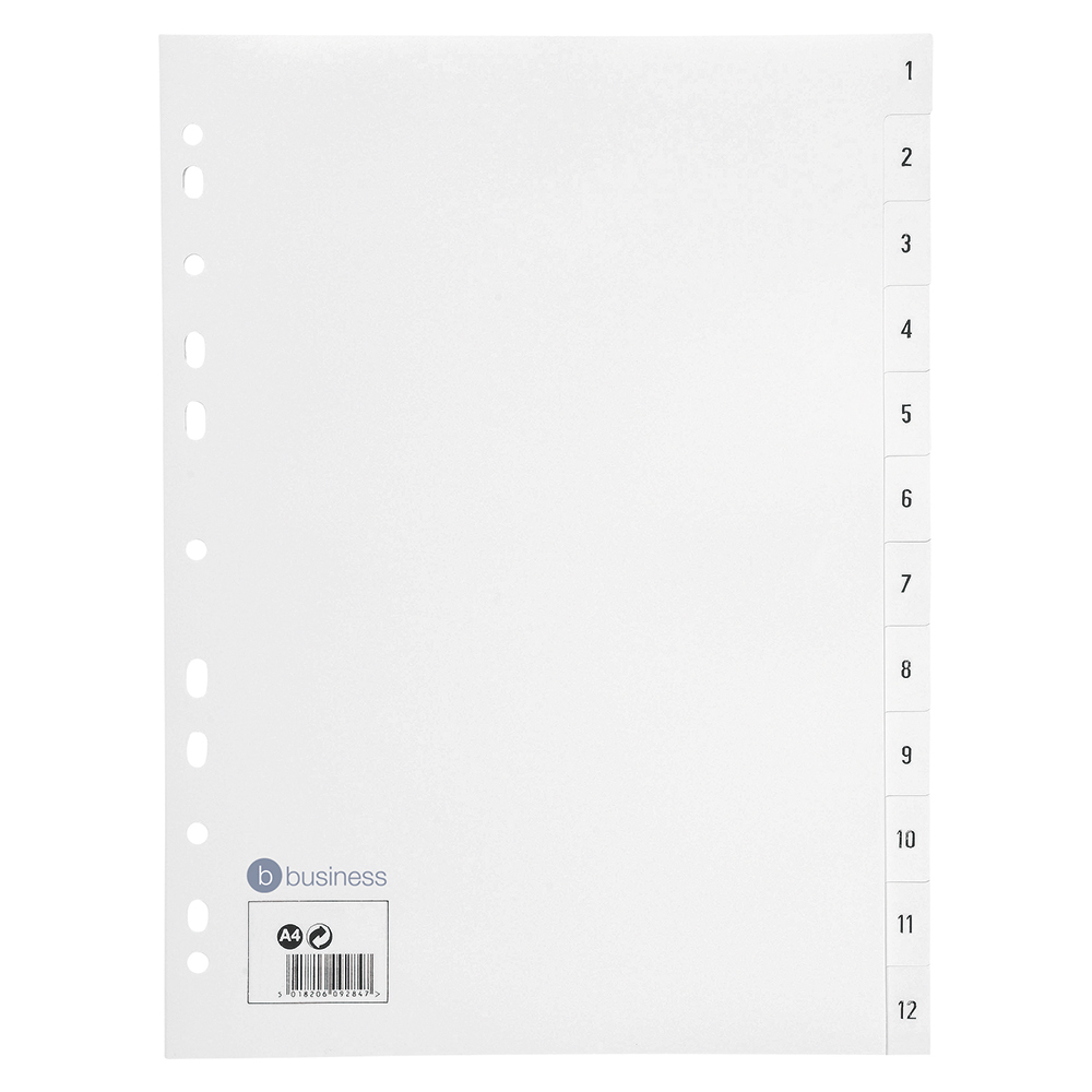 Business Index Multipunched 130 micron Polypropylene 1-12 A4 White
