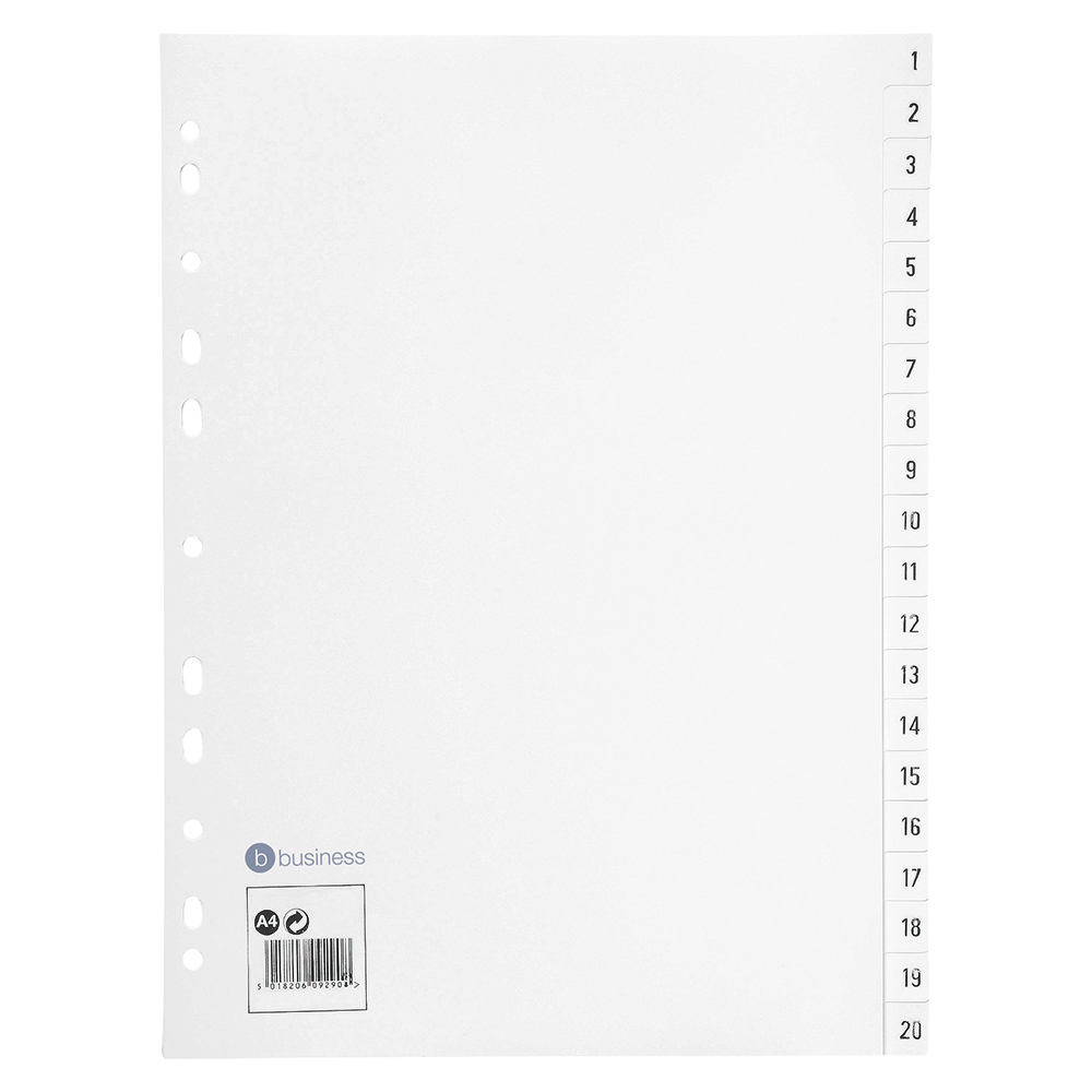 Business Index Multipunched 130 micron Polypropylene 1-20 A4 White