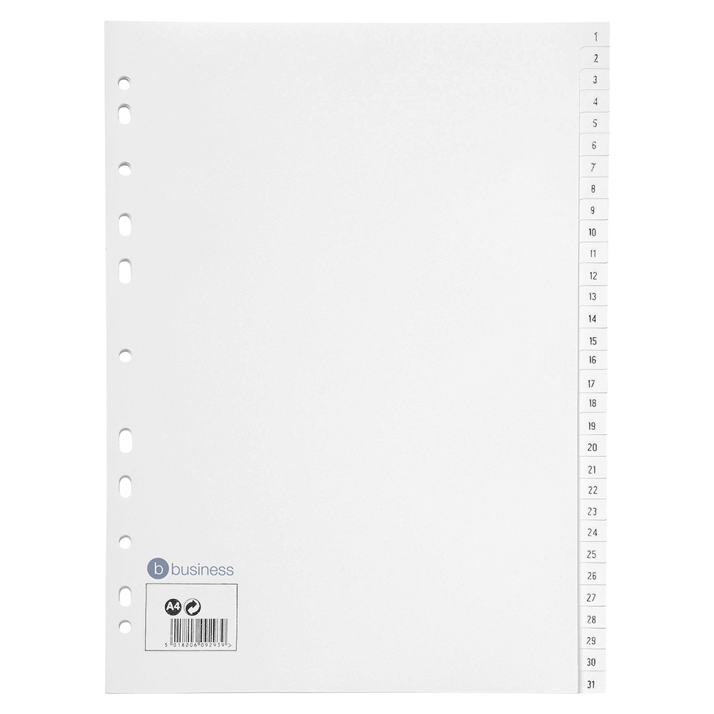 Business Index Multipunched 130 micron Polypropylene 1-31 A4 White