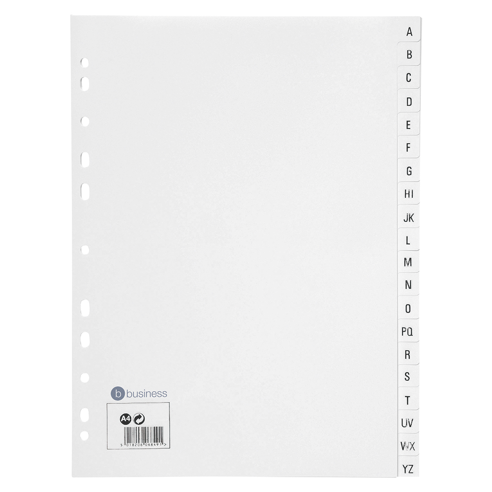 Business Index Multipunched 130 micron Polypropylene A-Z A4 White