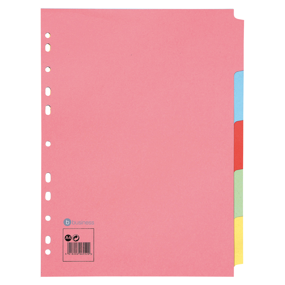 Business Subject Dividers Multipunched Manilla Card 5-Part A4 Assorted