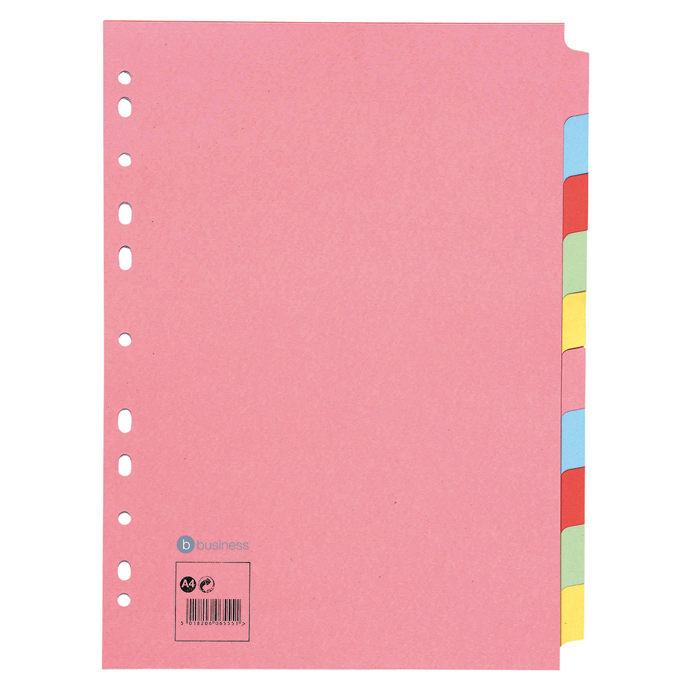 Business Subject Dividers Multipunched Manilla Card 10-Part A4 Assorted