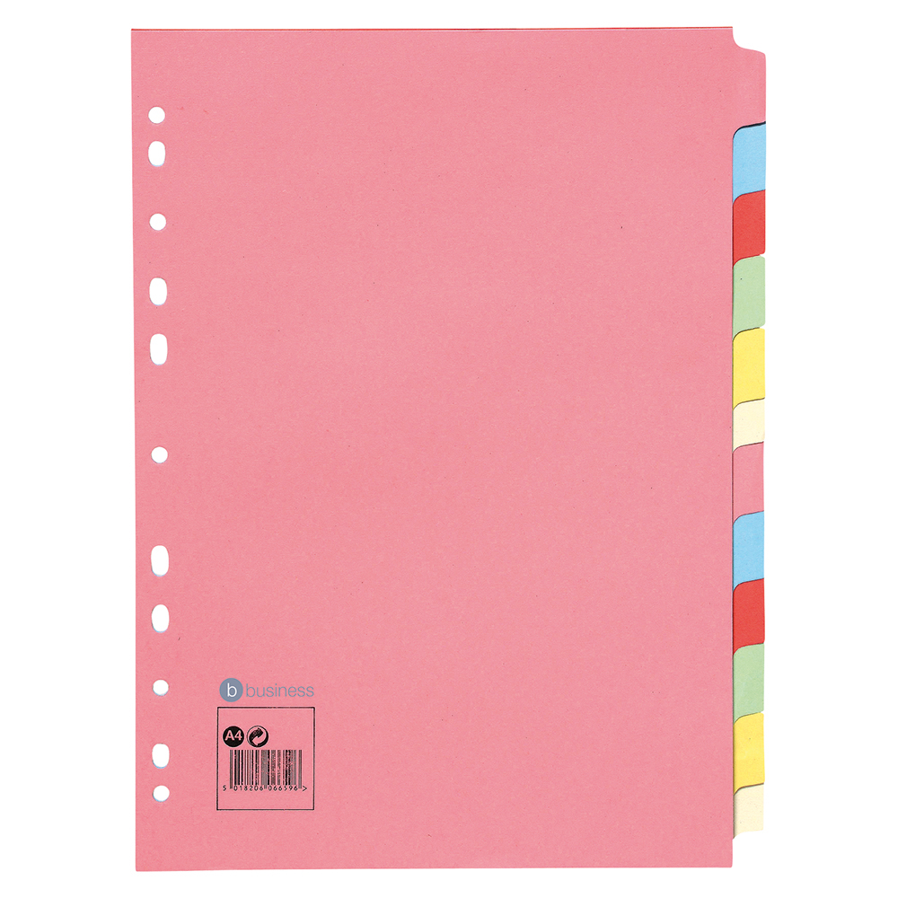 Business Subject Dividers Multipunched Manilla Card 12-Part A4 Assorted
