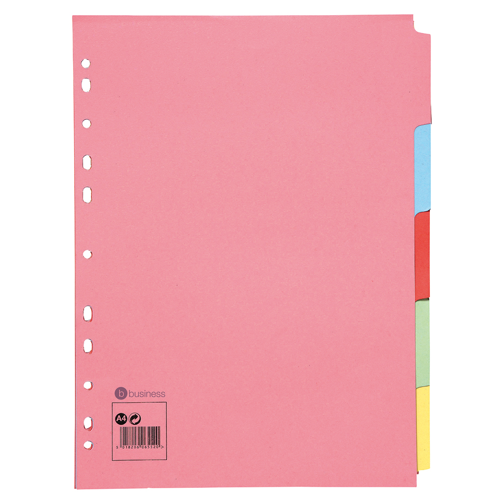 Business Subject Dividers Multipunched Manilla Card 5-Part A4 Assorted [Pack 50]