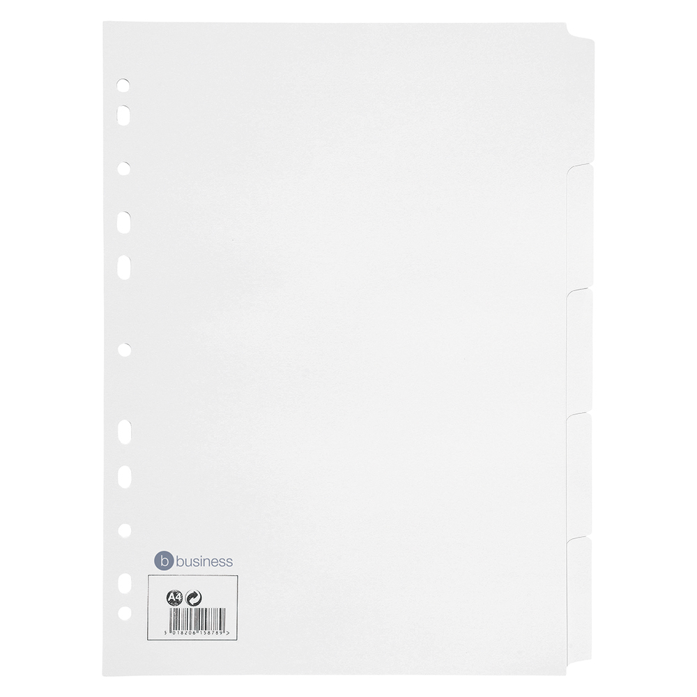 Business Subject Dividers Multipunched Manilla Card 5-Part A4 White