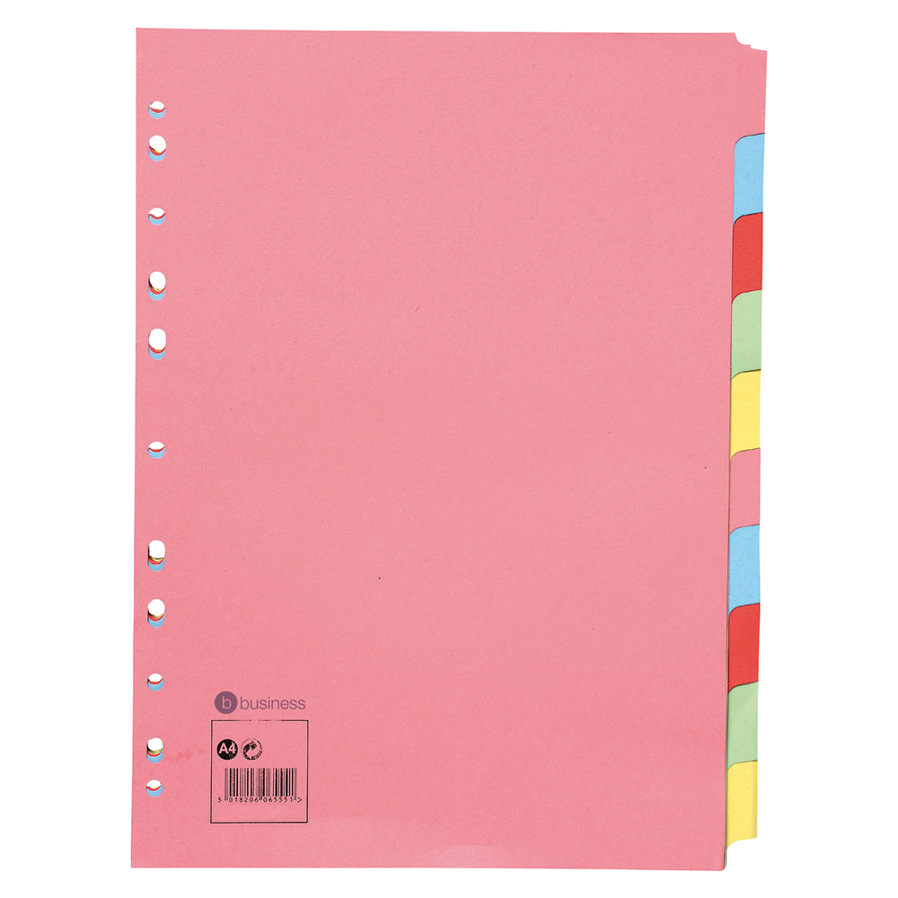 Business Subject Dividers Multipunched Manilla Card 10-Part A4 Assorted [Pack 25]