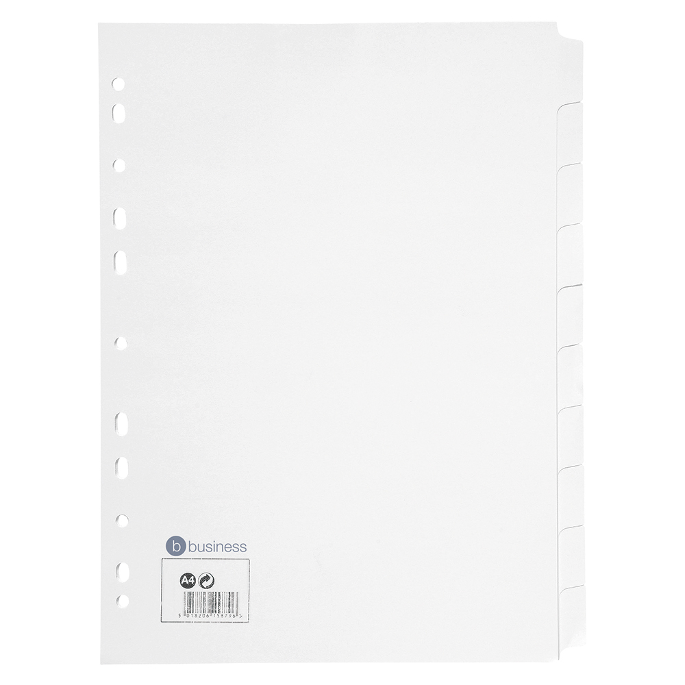 Business Subject Dividers Multipunched Manilla Card 10-Part A4 White
