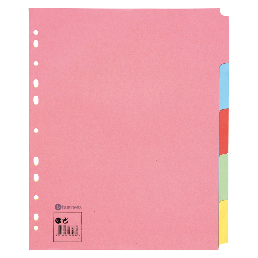 Business Subject Dividers Multipunched Manilla Card 5-Part Extra Wide A4 Assorted