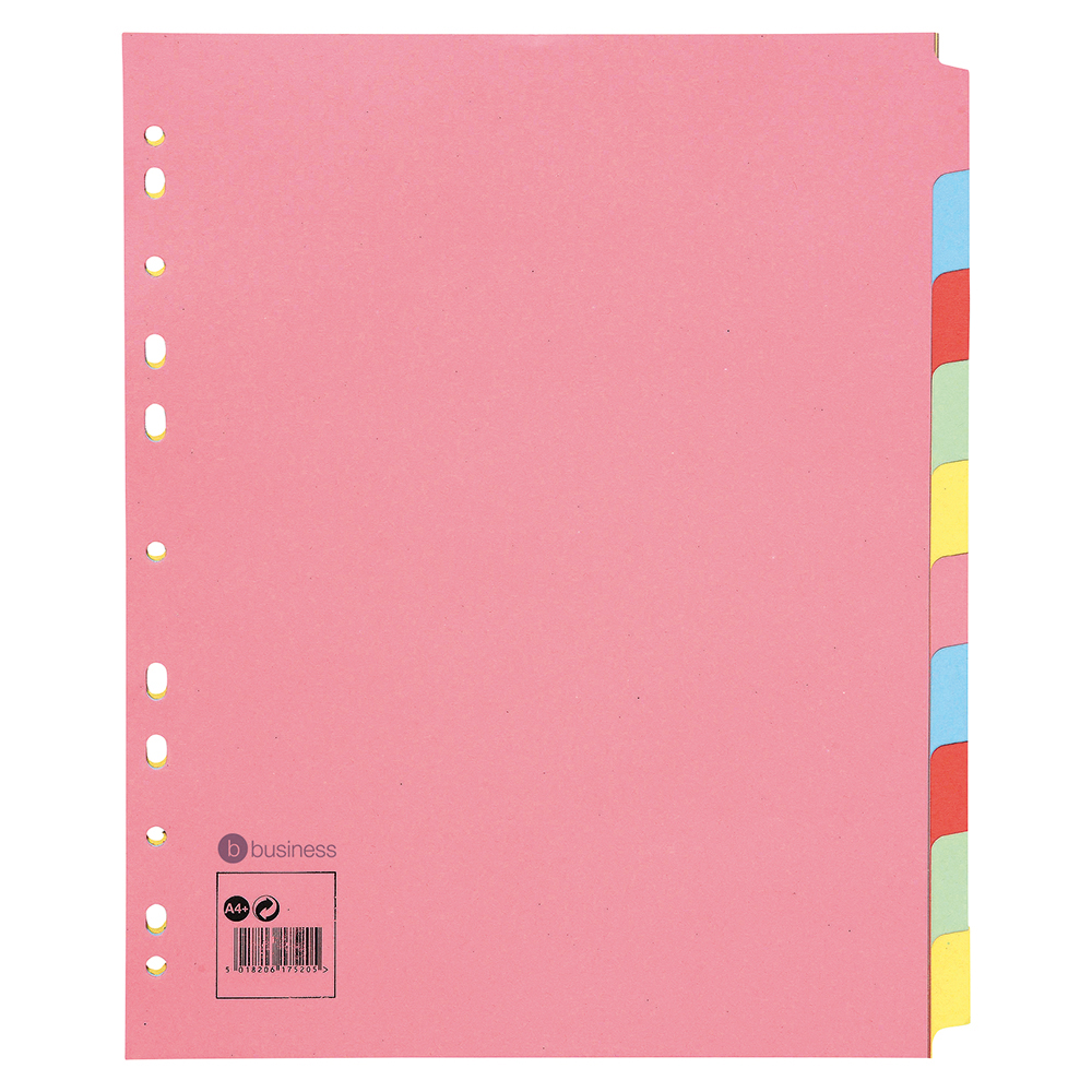 Business Subject Dividers Multipunched Manilla Card 10-Part Extra Wide A4 Assorted