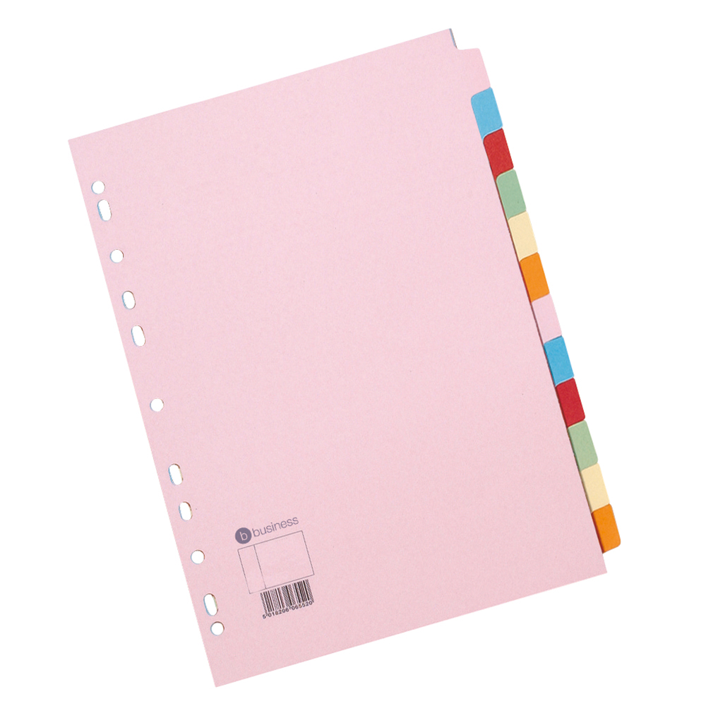 Business Subject Dividers Multipunched Manilla Card 12-Part A4 Assorted [Pack 10]