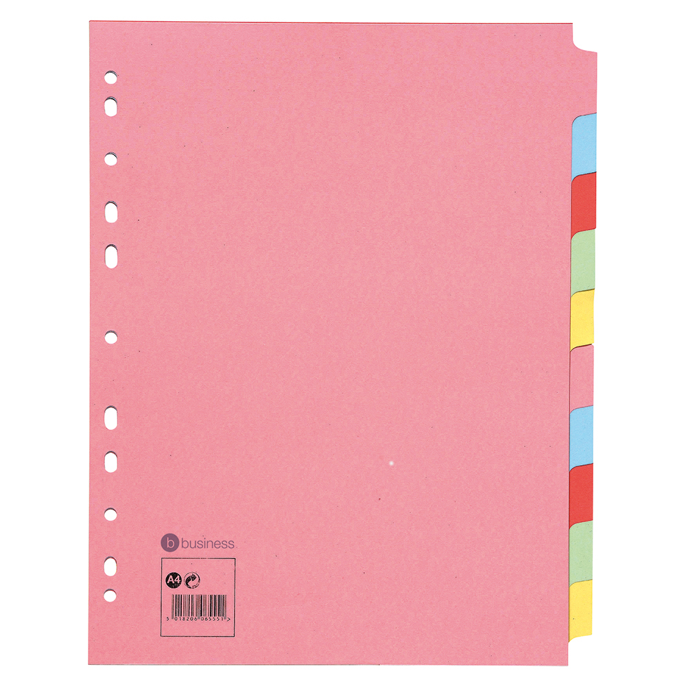 Business Subject Dividers Multipunched Manilla Card 10-Part Extra Wide A4 Assorted [Pack 10]