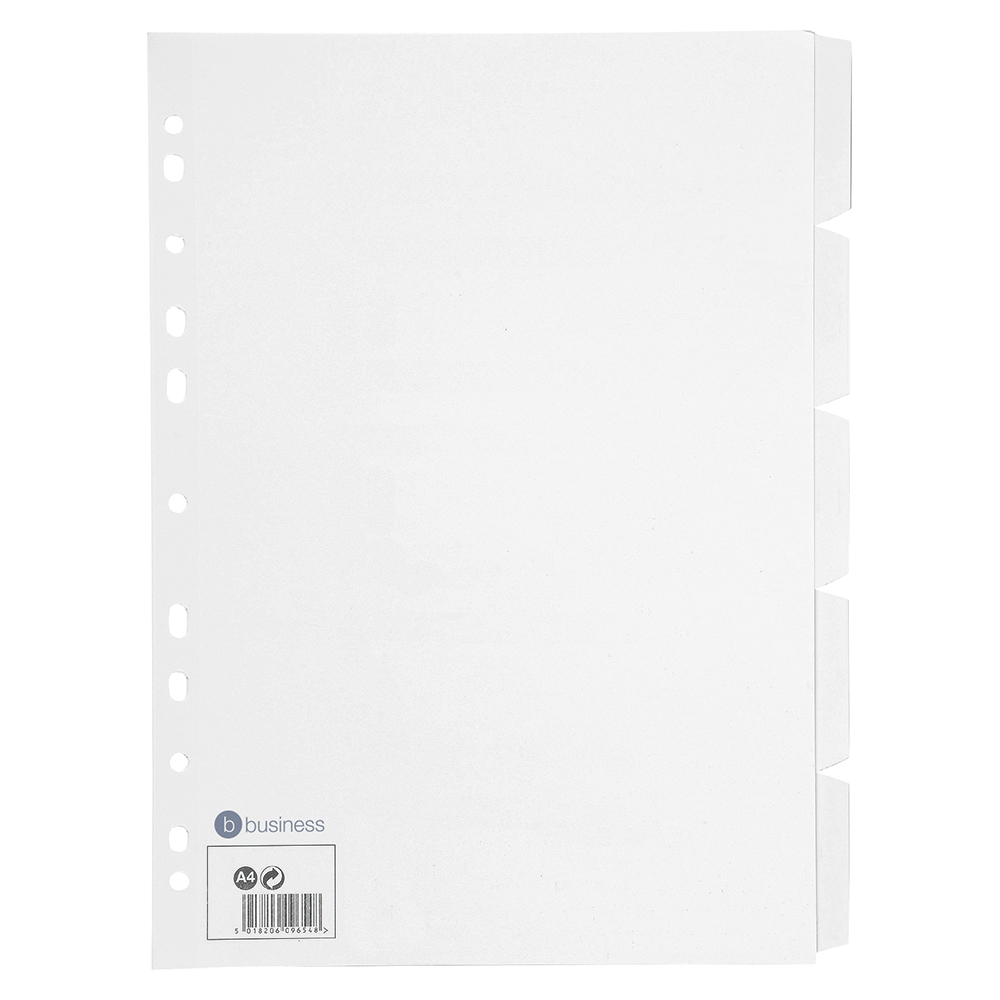 Business Subject Dividers Multipunched Manilla Card 5-Part A4 White [Pack 10]
