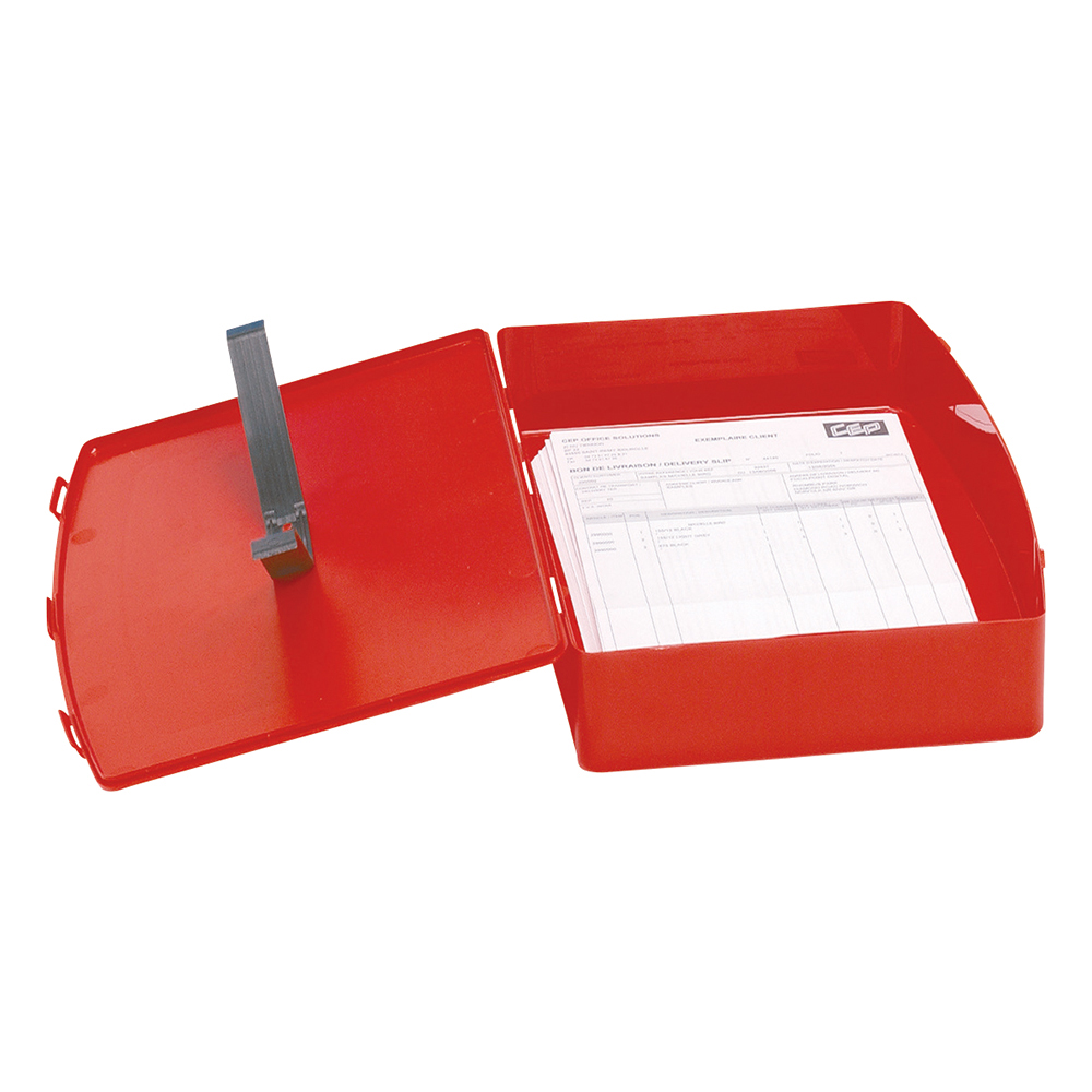 Business Box File Polypropylene with Twin Clip Lock Foolscap Red