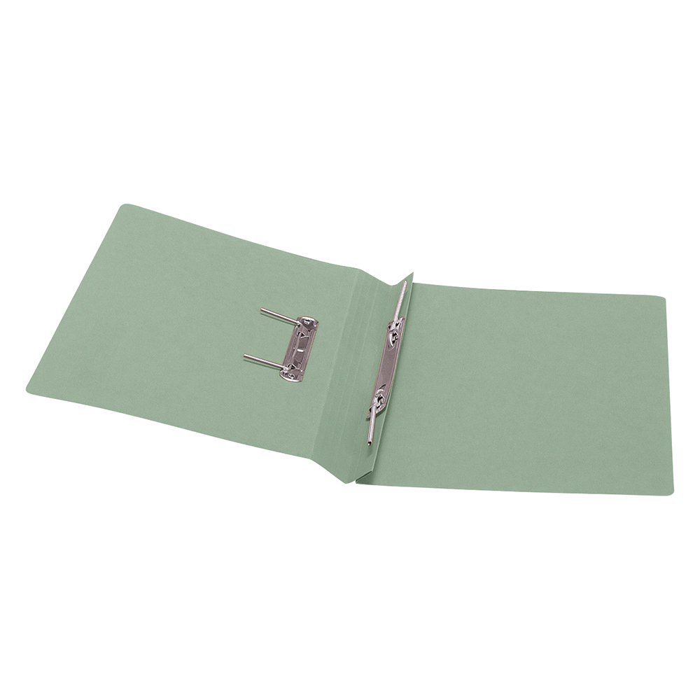 Business Transfer Spring File Recycled 285gsm Capacity 38mm Foolscap Green [Pack 50]