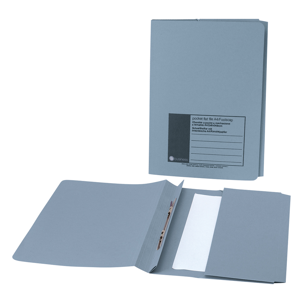 Business Flat Bar Pocket File Recycled Manilla 285gsm Capacity 38mm Foolscap Blue [Pack 25]