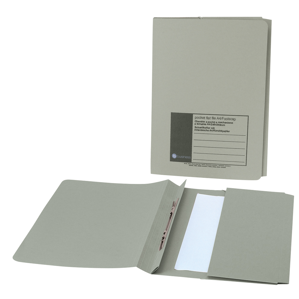 Business Flat Bar Pocket File Recycled Manilla 285gsm Capacity 38mm Foolscap Green [Pack 25]