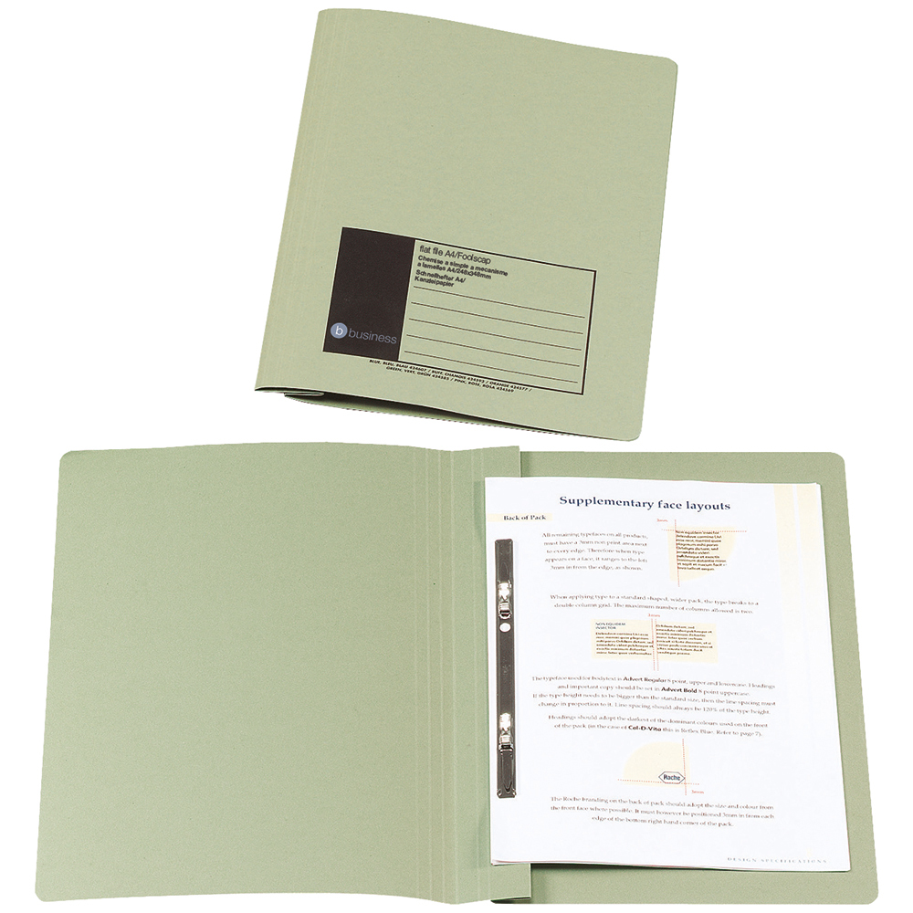 Business Flat Bar File Recycled Manilla 285gsm Capacity 38mm Foolscap Green [Pack 50]