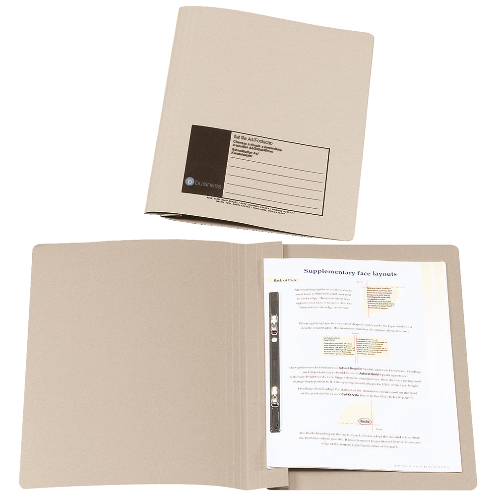 Business Flat Bar File Recycled Manilla 285gsm Capacity 38mm Foolscap Buff [Pack 50]