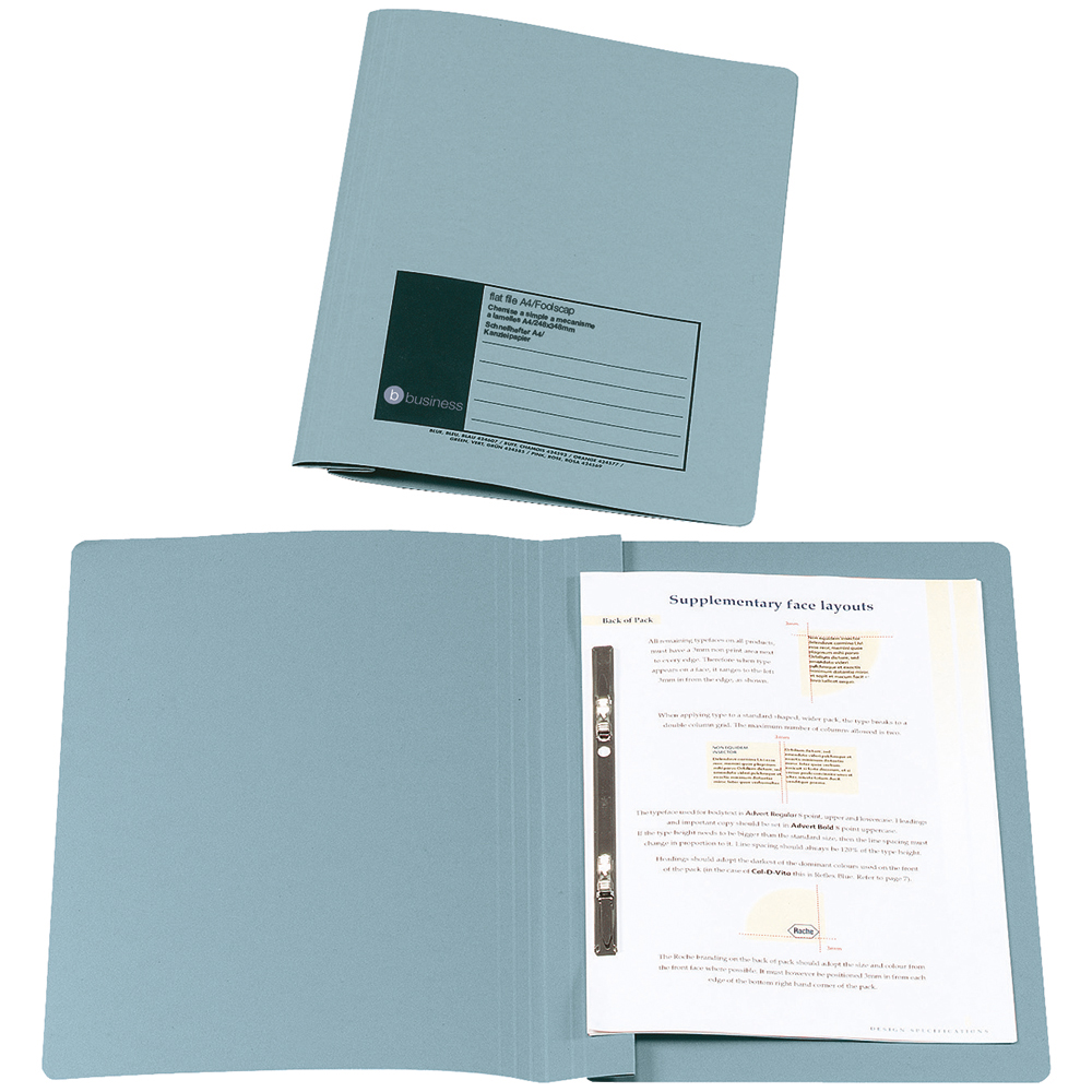 Business Flat Bar File Recycled Manilla 285gsm Capacity 38mm Foolscap Blue [Pack 50]