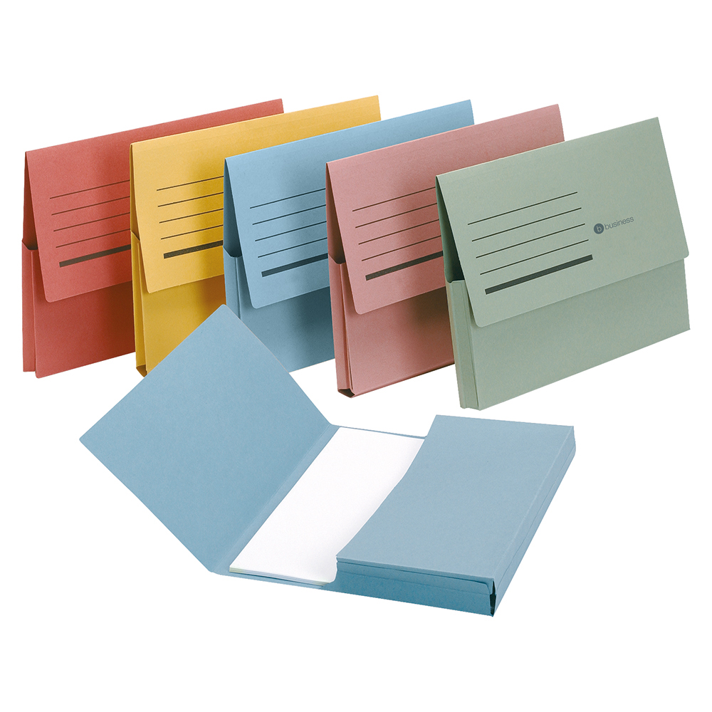 Business Document Wallet Half Flap 285gsm Recycled Capacity 32mm Foolscap Assorted [Pack 50]