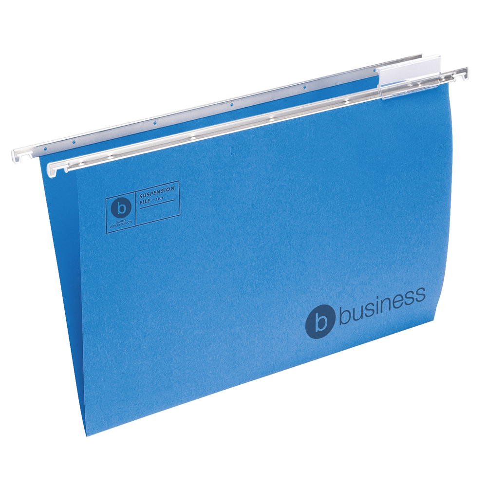 Business Suspension File Manilla with Tabs and Inserts Foolscap Blue [Pack 50]
