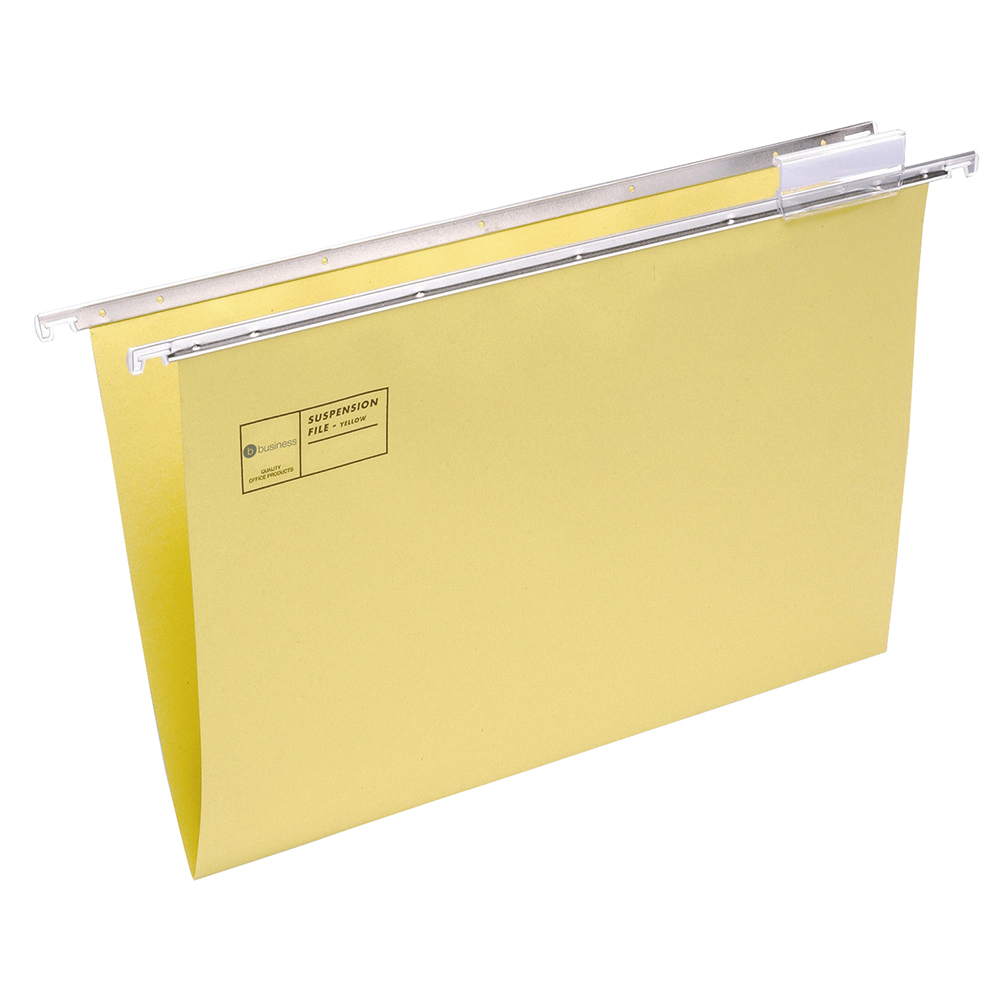 Business Suspension File Manilla with Tabs and Inserts Foolscap Yellow [Pack 50]