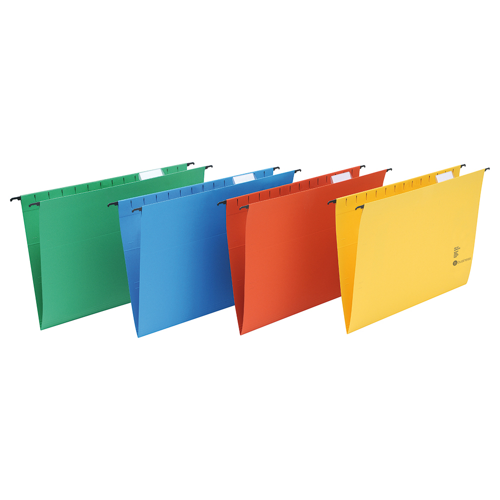 Business Suspension File Manilla Heavyweight with Tabs and Inserts Foolscap Green [Pack 50]