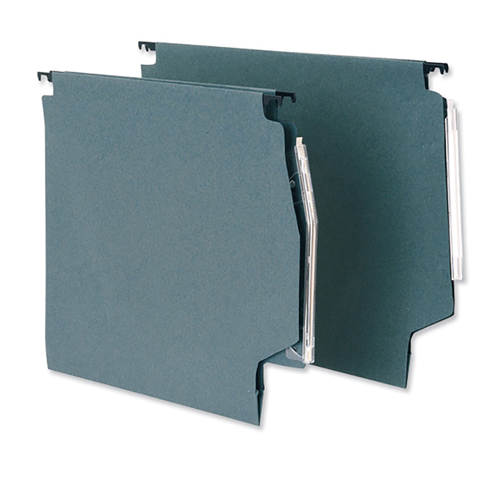 Business Lateral File Manilla with Clear Tabs and Inserts Wide-Base W275mm Green [Pack 50]