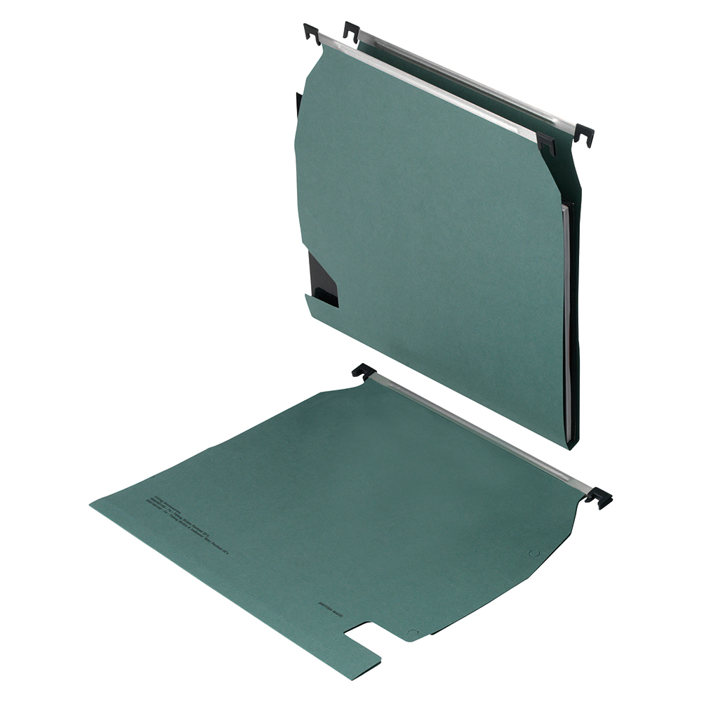 Business Lateral File Manilla with Clear Tabs and Inserts W270mm Green [Pack 25]