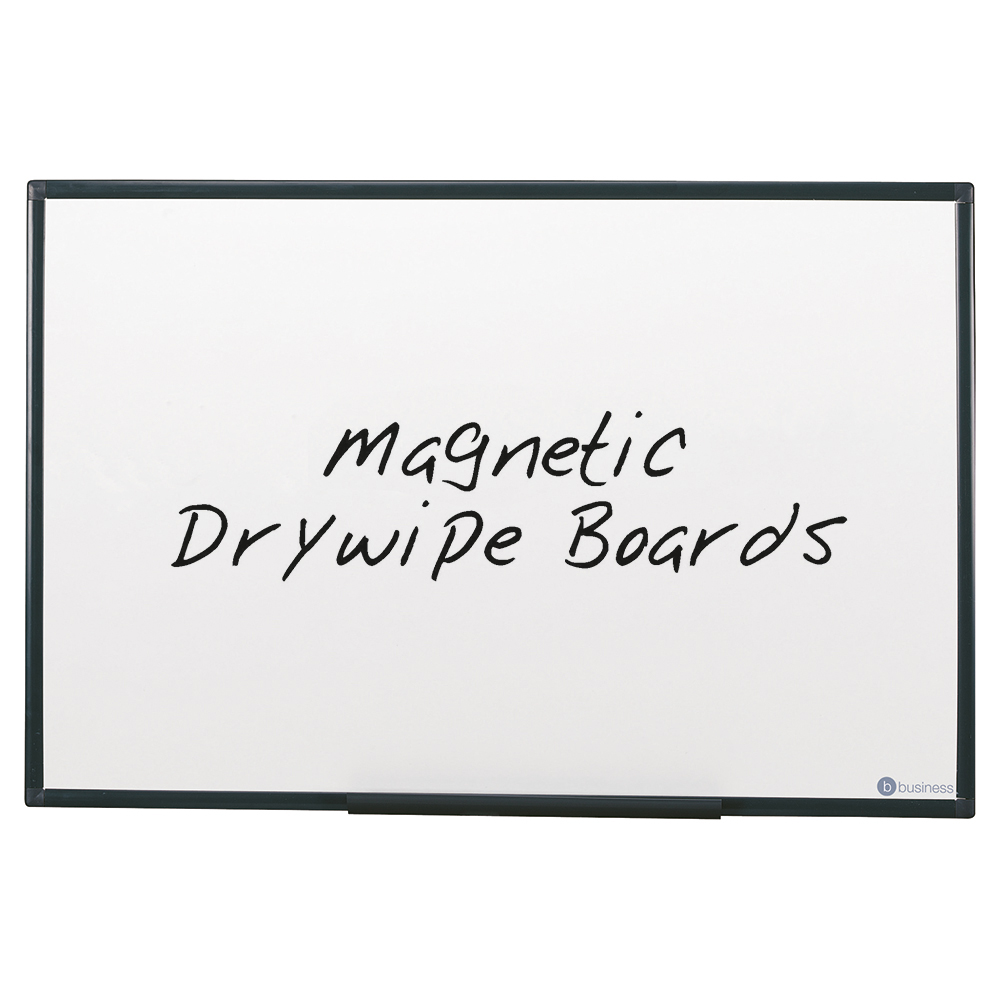 Business Drywipe Board Magnetic Lightweight with Fixing Kit and Detachable Pen Tray W900xH600mm