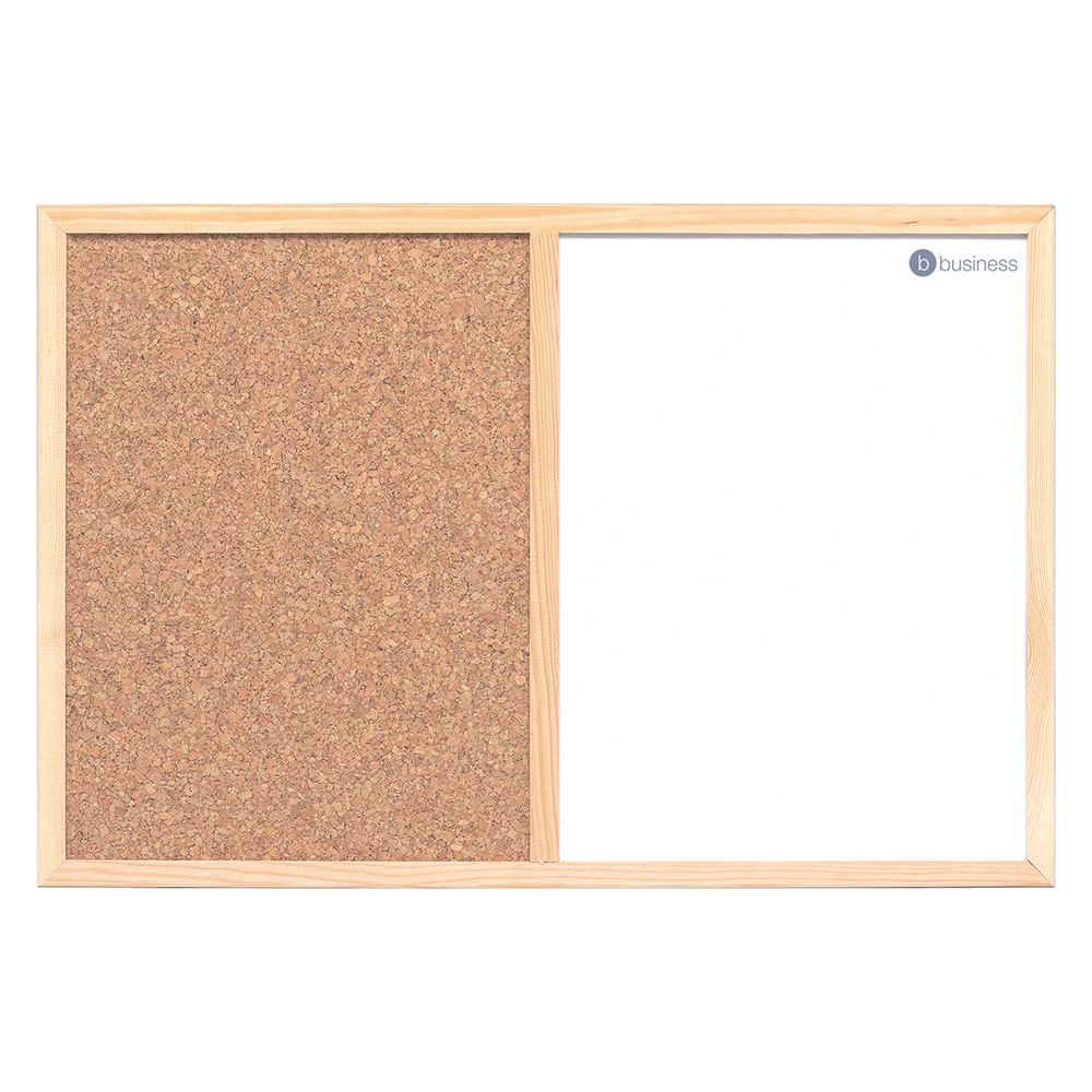Business Combination Noticeboard Cork and Drywipe W600xH400mm