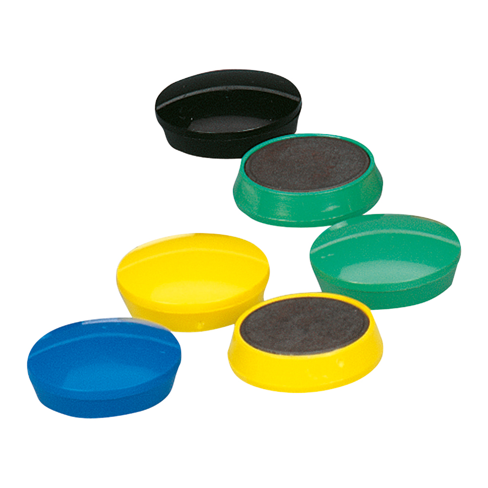 Business Round Plastic Covered Magnets 30mm Assorted [Pack 10]