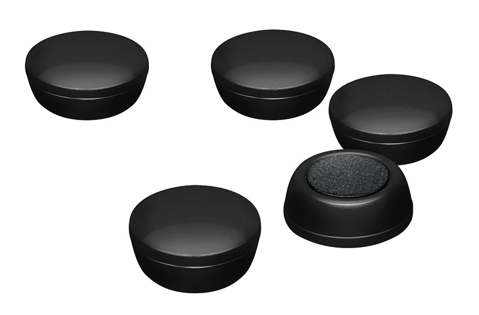 Business Round Plastic Covered Magnets 20mm Black [Pack 10]