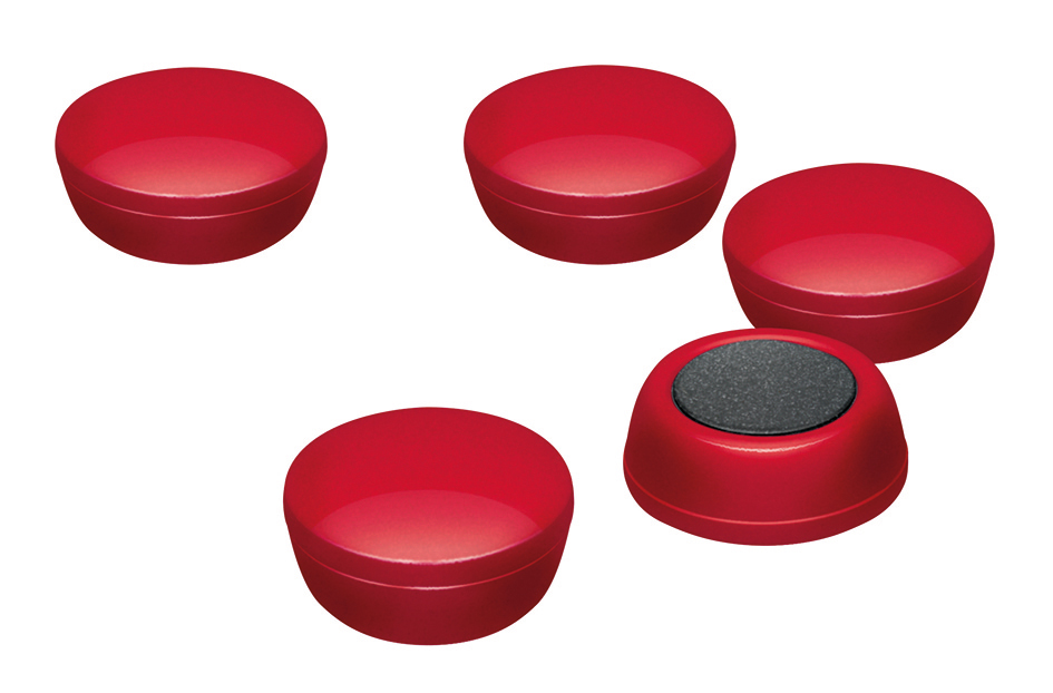 Business Round Plastic Covered Magnets 20mm Red [Pack 10]