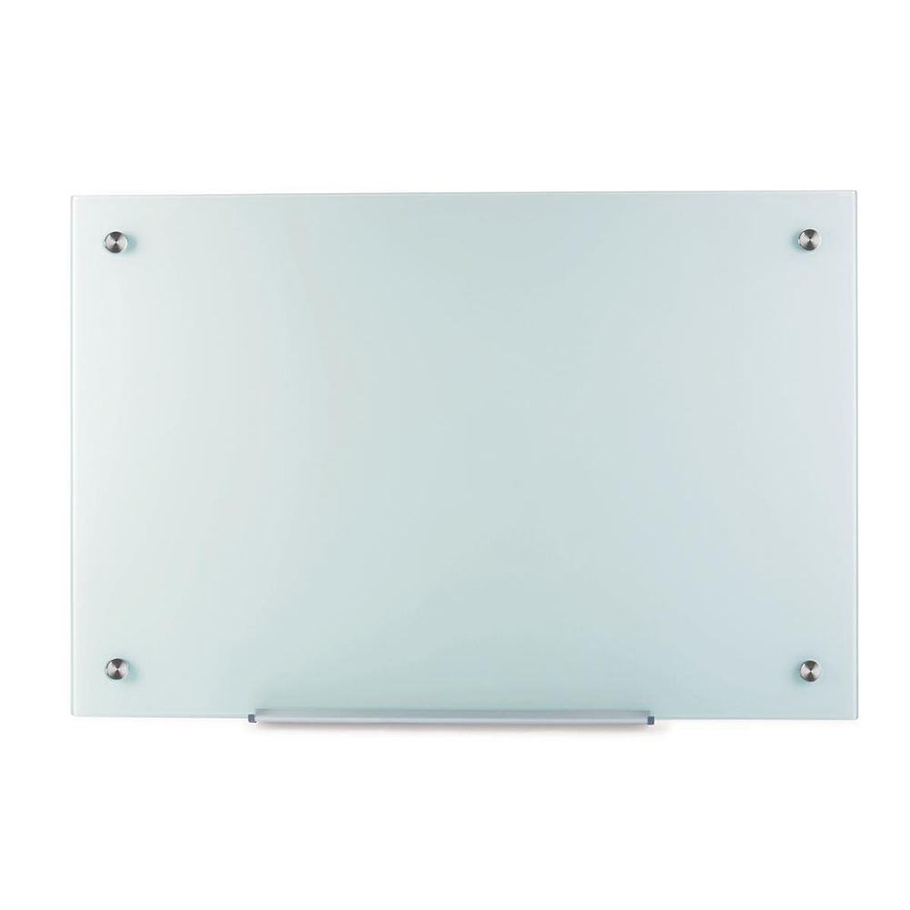 Business Glass Board Magnetic with Wall Fixings W1000xH650mm White