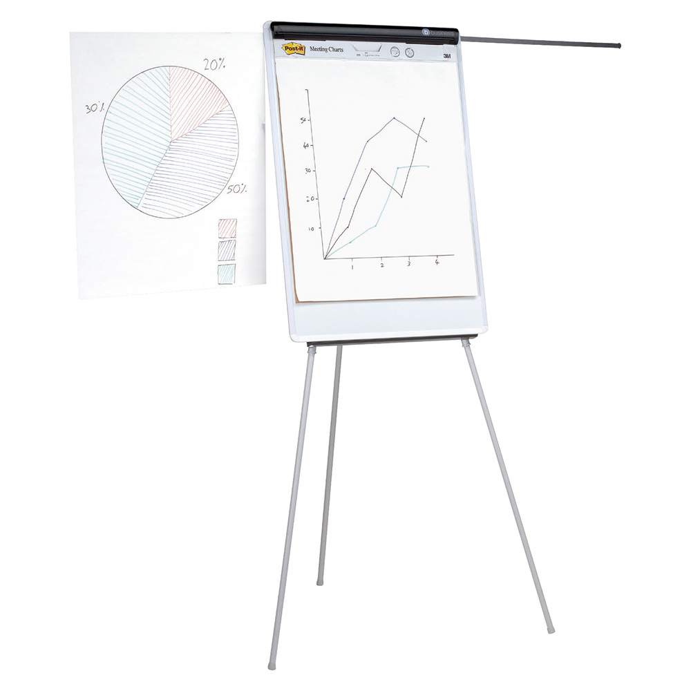 Business Easel Drywipe Magnetic with Pen Tray and Extension Arms Capacity A1 Grey