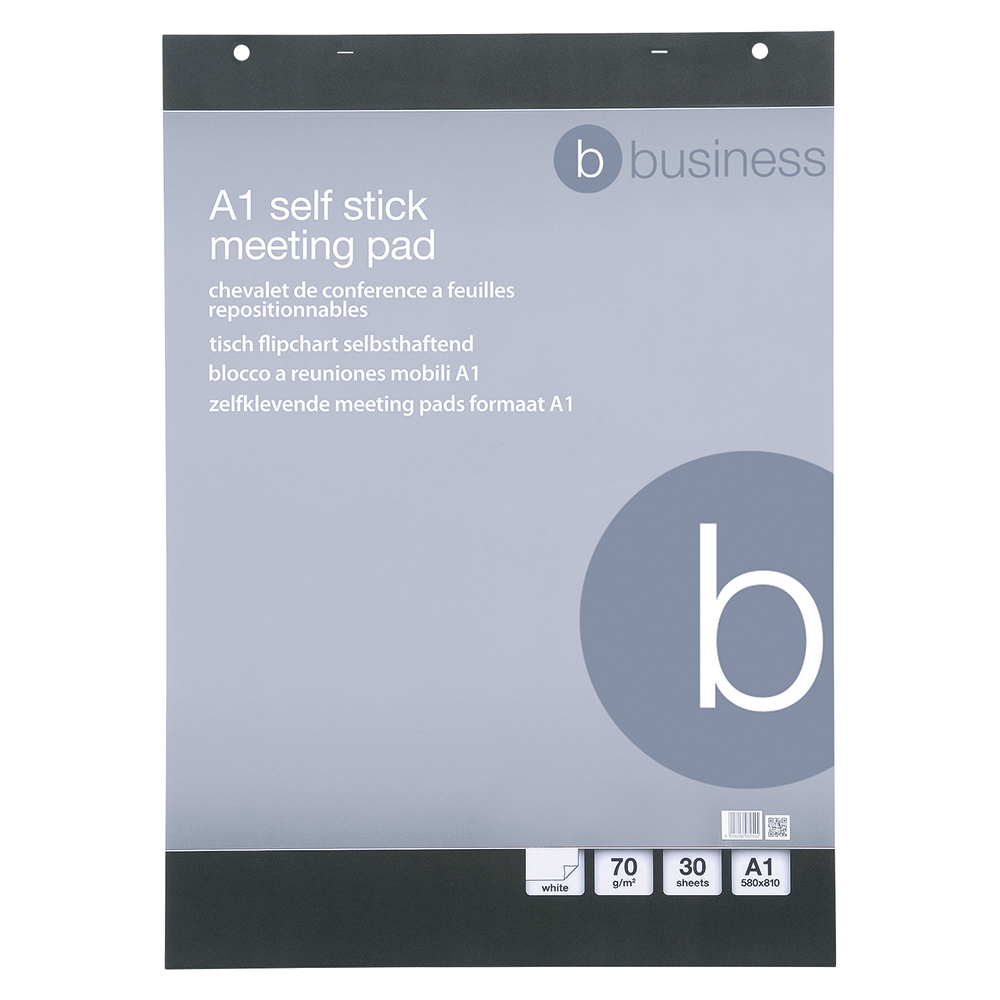 Business Flipchart Pad Self-adhesive 80gsm 30 Sheets 780x635mm White [Pack 2]