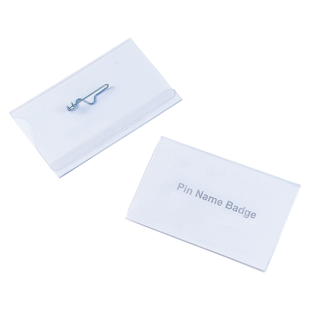 Business Name Badges Landscape with Pin 54x90mm [Pack 50]