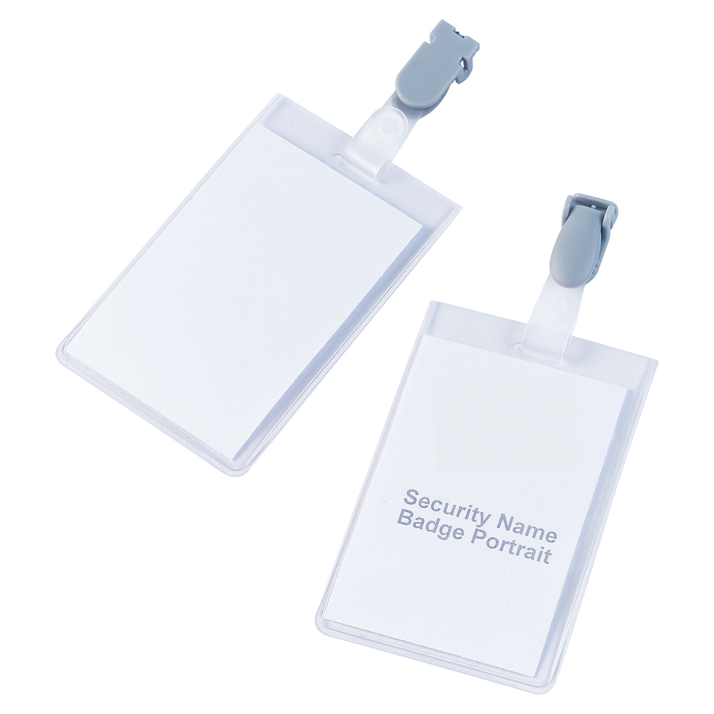 Business Name Badges Security Portrait with Plastic Clip 90x60mm [Pack 25]