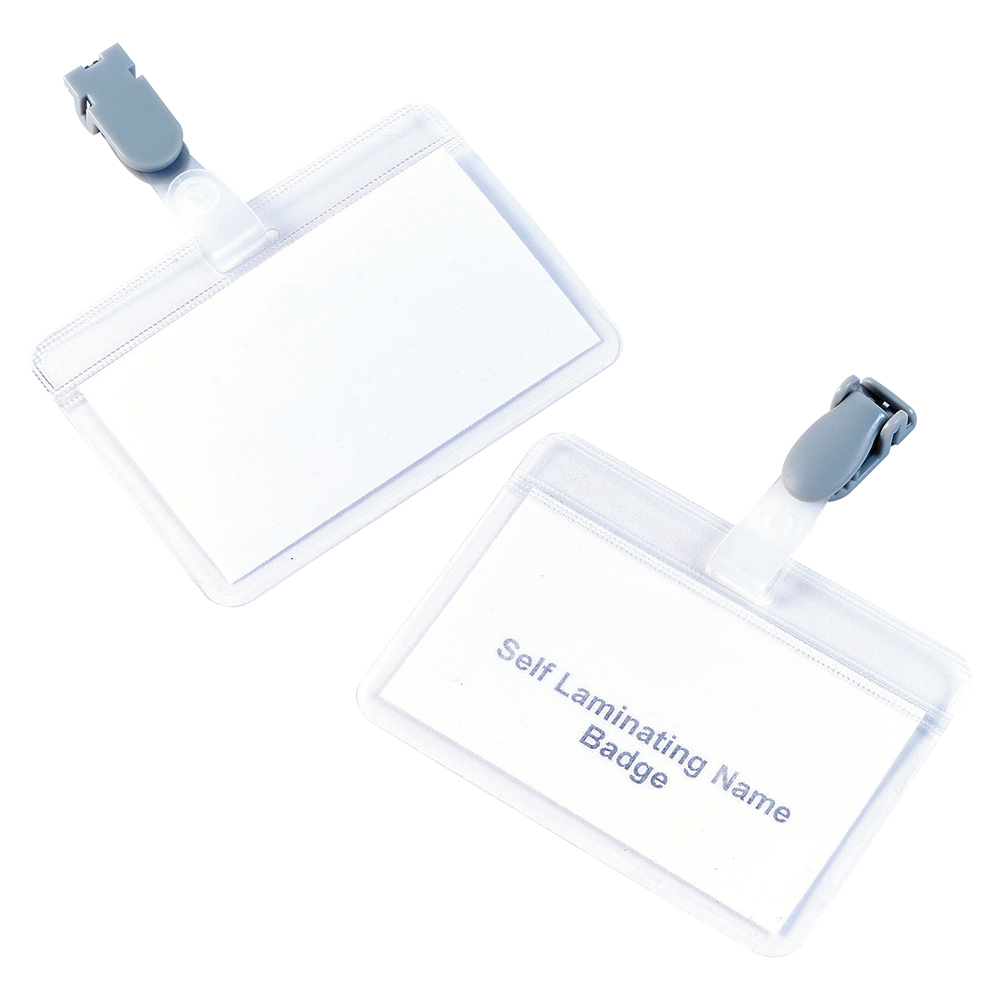 Business Name Badges Self Laminating Landscape with Plastic Clip 54x90mm [Pack 25]